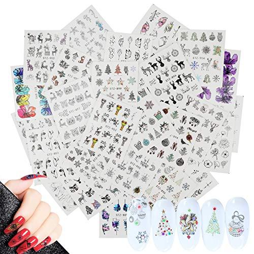 Mwoot 26 Blatt (mehr als 700 Stück) 3D Weihnachten Muster Nagel Sticker Aufkleber Tattoo Nail Art/Phone Case/Karten Deko