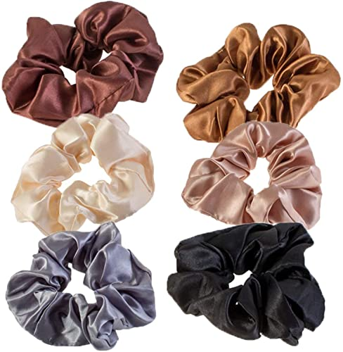 VAGA Cute Scrunchies For Hair 6 Colours Set, Our Hair Scrunchies Hair Elastics Ponytail Holder Pack Is Softer Then Regular Hair Ties And Headbands,A Satin Scrunchie Doesn't Pull Or Snag Thick Hair