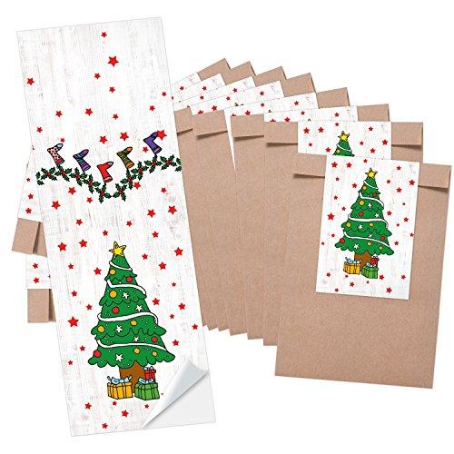 25 braune Mini-Papiertüten Papier-Tütchen Schmuckbeutel (8,5 x 13 cm) + 25 Aufkleber grün weiß rot WEIHNACHTSBAUM (5 x 15 cm) - Verpackung Weihnachten f. give-away