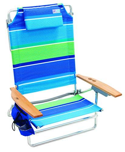 Rio Beach Big Kahuna - Silla de Playa Plegable Extra Grande, más Que una Raya Azul