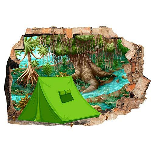 Carpa bosque bosque fresco campamento etiqueta de la pared dormitorio 3D habitación de los niños vinilo adhesivo sala de estar