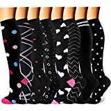 QUXIANG Copper Knee High Compression Socks Women and Men (8 Pairs), 15-20 mmHg is Best for Athletics, Nursing, Running, Crossfit, Cycling, Hiking, Flight Travel, Pregnancy & Maternity (S/M, Multi 20)