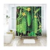 MaxAst Gemüse Gurke Duschvorhang Anti Schimmel, Bunten Badewanne Vorhang 200x180CM, Antibakteriell Wasserdicht mit Kunststoff Ringe Kein Rost