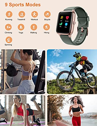 YAMAY Smart Watch Fitness Tracker Watches for Men Women, Fitness Watch Heart Rate Monitor IP68 Waterproof with Step Calories Sleep Tracker, Smartwatch Compatible iPhone Android Phones (Green-Gold)
