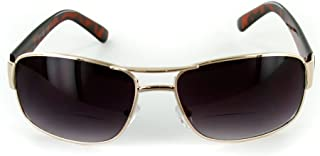 The Top Gun Unisex Aviator Tinted Bifocal Sunglasses for Men and Women +1.00 Gold (Carrying Case Included)