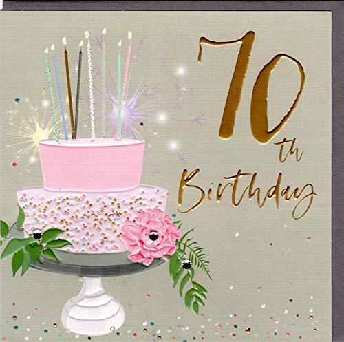 Belly Button Designs hochwertige Glückwunschkarte zum runden 70. Geburtstag aus der neuen Elle Serie mit Prägung, Folie und Kristallen BE037