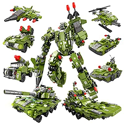 HENG TAI STEM Building Toys for Kids, 9 in 1 Military Robot Building Toy, Brick Build Set Construction Plane Helicopter Tank Vehicle Toy for 6 7 8 9 10 + Year Old Boys Girls (Green 752 PCS) by HENG TAI
