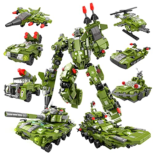 HENG TAI STEM Building Toys for Kids, 9 in 1 Military Robot Building Toy, Brick Build Set...