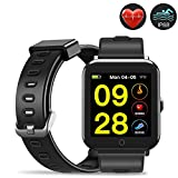 Evershop Fitness Tracker with HD Color Screen, IP68 Waterproof Smart Watch, Activity Tracker with Heart Rate Monitor,Calorie Counter Sleep Monitor for Women Men Kids(DM06-black)