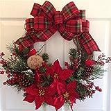 Dedeka Coronas de Navidad, magnífico Artificial Garland Puerta Colgando Suministros Decorativas, para Interior-Exterior Guirnaldas Garland Adornos Adornos de Navidad