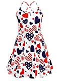JESKIDS Girls Summer Cami Dress Patriotic 4th of July American Flag Dresses 6T 7T