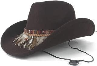 AU-KANGSHUAI Western Cowboy Hat With Feather Wide Brim Hat Outdoor Casual Hat Men Women Wool Size 56-58CM