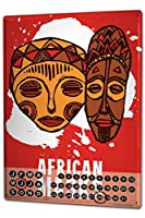 カレンダー Perpetual Calendar Globetrotter African Masks Tin Metal Magnetic