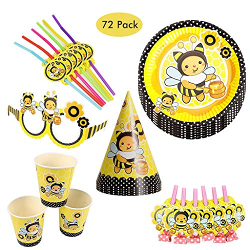 DreamJing 72pcs Bee Party Supplies Tableware Set for 12 Guest with Bee Hat for Girls Boys Kids Birthday Decorations with Plates, Cups, Straws