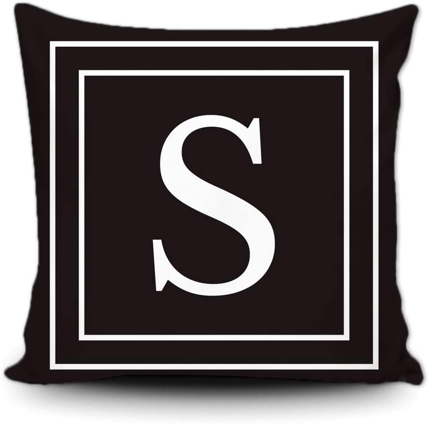 SVITFAMLI Black Pillow Cover with White Letter Monogram S and Stripes English Alphabet Initial Decorative Square Throw Cushion Case for Bed Sofa Couch 16 x 16 Inch Pillowcase, Double Sided Print