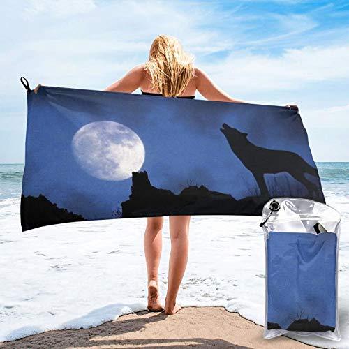 Sunmuchen Toalla de baño Wolf Moon, toalla de gimnasio, toalla de playa, uso multiusos para deportes, viajes, superabsorbente, microfibra suave de secado rápido, ligero