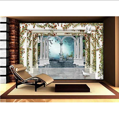 Aangepaste 3D-muurschildering behang vliesposter rozentuin zuil woonkamer TV achterwand beddengoed kamer 3D fotobehang 300 cm x 210 cm.