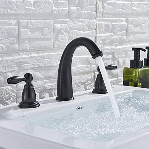 FGHHT Grifo de bañera de níquel Cepillado, Grifo de Lavabo, 3 uds, Ducha, Grifo de baño, Grifo de Lavabo, Mezclador de Agua fría y Caliente,manija Doble