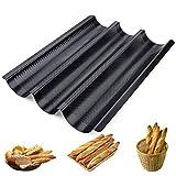 Homewit 3 Mulden Baguette-Backblech, 38.5x28.5x3.5 cm Baguetteblech für 3 Baguettes,...
