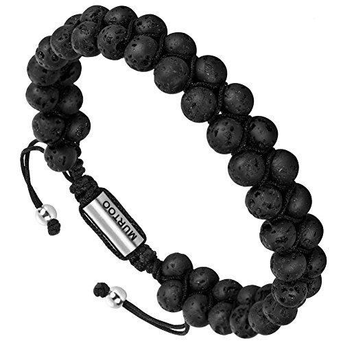 Bracelet en pierre en cuir pour les hommes, Bracelet réglable de perles avec huile essentielle Yoga comme Diffuser Bracelet pour hommes (petite pierre)