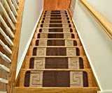 Millenium Stair Tread Treads Greek Key Design Indoor Skid Slip Resistant Carpet Stair Tread Treads Greek Key Design Machine Washable 8 ½ inch x 30 inch (Set of 13, Meander Brown)