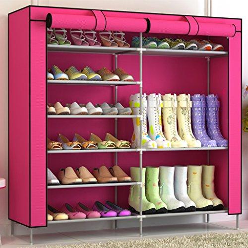 Fu Man Li Trading Company Porte-Chaussures Ensemble Multi-Couches Simple à Billes d'étagères à Double rangée de poussière Armoire à Chaussures créative A+ (Couleur : Rouge)