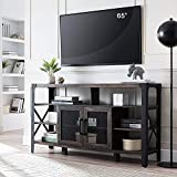 OKD TV Console Large Industrial Entertainment Center Rustic Tall Wood TV Stand Cabinet for 65 Inch TV, with Sturdy Side Metal X-Frame, for TVs Up to 70 Inch, Dark Rustic Oak