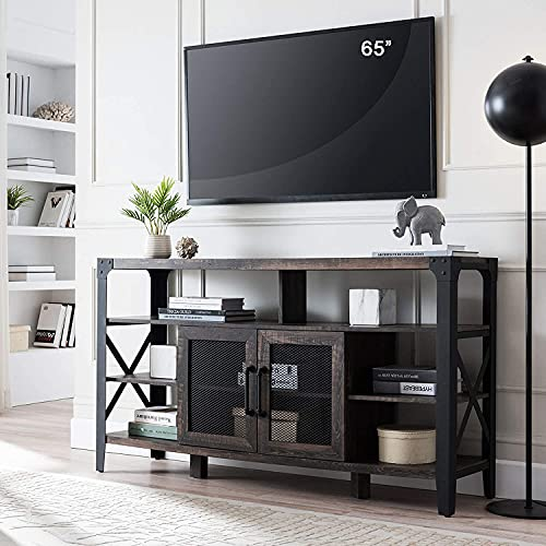 """OKD TV Console, Industrial Entertainment Center, Dark Wood TV Stand with X Steel Legs, TV Cabinet with Storage Shelves and Cabinets, for TVs Up to 68""""(4-Tier TV Stands, Dark Rustic)"""
