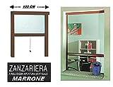 Zanzariera a Rullo in Alluminio per finestre con Profilo riducibile/Regolabile avvolgimento Verticale con Frizione 100x170cm Marrone