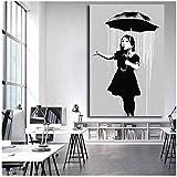NRRTBWDHL Banksy NOLA Mädchen Regenschirm Regnet New