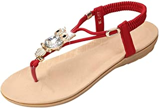 JTYR Flat Sandals for Women Casual Clip Toe Sandals Bohemia Rhinestone Flower Beaded Comfort T-Strap Sandals Red-39