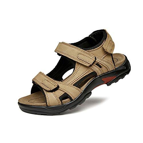 Sandalias de hombre con puntera abierta para hombre, sandalias antideslizantes y ajustables, sandalias romanas antideslizantes para hombre, color caqui, tamaño: 44