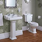 Hudson Reed - Ensemble Toilette WC Traditionnel Lavabo Colonne - Design Rétro -...