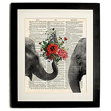 Elephant with Bouquet of Flowers Upcycled Handmade Vintage Dictionary Art Print 8 x10