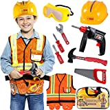 Tacobear Obrero Disfraz para Niños con Herramientas Juguetes Goggle Casco de Seguridad Taladradora...