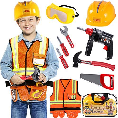 Tacobear Bauarbeiter Kostüm Kinder Handwerker Kinderkostüm Rollenspiel Set mit Spielwerkzeug Goggle Schutzhelm Bohrmaschine Spielzeug für Kinder Jungen Karneval Halloween Fasching
