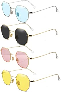 CREEK Unisex Octagonal Sunglasses/Frame for Men & Women - Black/Pink/Yellow/Blue Combo, Pack of 4, Free Size