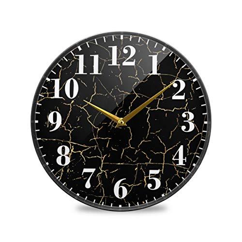 CaTaKu - Reloj de pared redondo de mármol abstracto silencioso y elegante de mármol elegante, funciona con pilas, reloj de cuarzo decorativo de 9.5', para salón, estudio, oficina, cocina