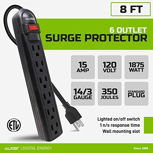 Digital Energy 6-Outlet Surge Protector Power Strip with 8-Ft Long Extension Cord, Black, ETL Listed/UL Standard
