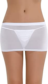 Women's Seethrough Mesh Sheer Bodycon Mini Skirt Lingerie Nightclub Fancy Dress Clubwear