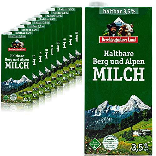 Berchtesgadener Land - 10er Pack H-Vollmilch 3,5 % in 1 Liter Packung - Haltbare Milch von Höfen aus der Berg- und Alpenregion (Bergbauernmilch)