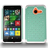 Lumia 640 XL Case, CoverON Hybrid [Aurora] Fashion Series, [Tough Rhinestone] [Bling Diamond] [Shockproof Full Body] Drop Protection Cover for Microsoft Lumia 640 XL - Teal/White