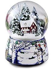 ANQIA Bola de nieve musical de 100 mm con luz LED y copo de nieve, ideal como regalo para Navidad, Halloween, Acción de Gracias