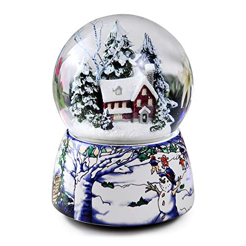 Anqia Schneekugel mit Musik, 100 mm, mit LED-Licht und automatischer Schneeflocke, ideales Geschenk für Weihnachten, Halloween, Erntedankfest