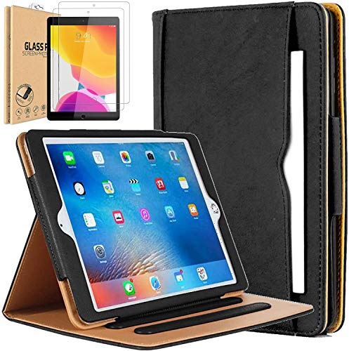 Leather Case for iPad Air 1 / Air 2 / Pro 9.7 / 9.7 2017 / iPad 9.7 2018 Universal Executive Quality Black & Tan Leather Flip Case Auto Wake/Sleep Function [ Free 2 Pack Tempered Glass]