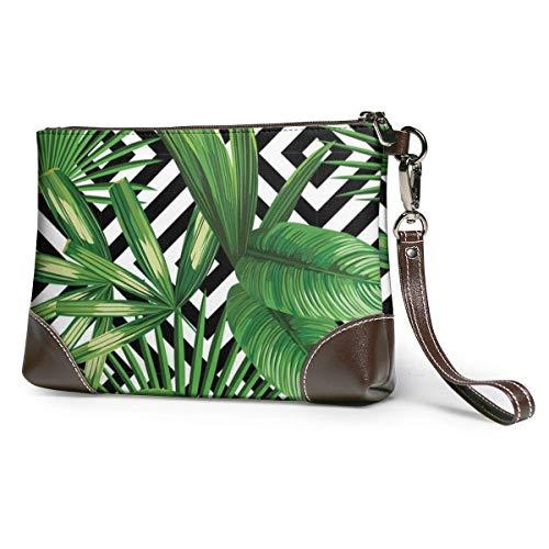 GLGFashion Carteras de cuero para mujer Ummer Exotic Jungle Plant Tropical Palm Leaves Women's Leather Wristlet Clutch Purses Portable Makeup Cosmetic Bag Handbag Organizer Wallet With Zipper