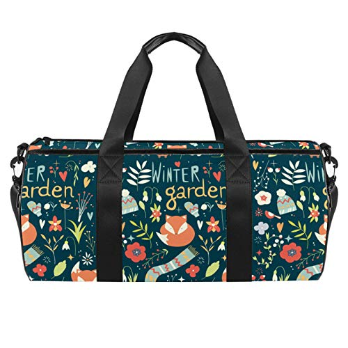 LAZEN Hombro Handy Sports Gym Bags Travel Duffle Totes Bag para hombres mujeres Winter Garden Fox Floral Pattern