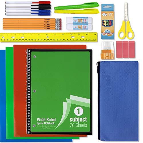 12 Pack of Wholesale School Supplies for Kids, 30 Piece School Supply Sets Bulk