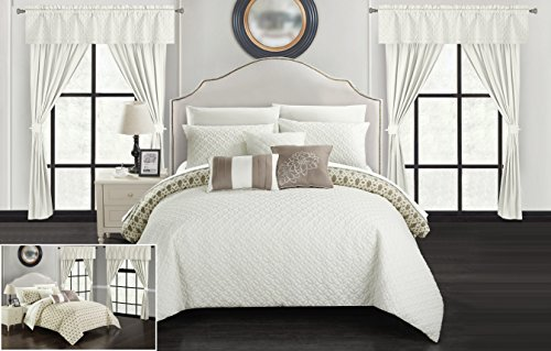 Chic Home Sigal 20 Piece Comforter Set Reversible Geometric Quilted Design Complete Bed in a Bag Bedding – Sheets Decorative Pillows Shams Window Treatments Curtains Included Queen Beige