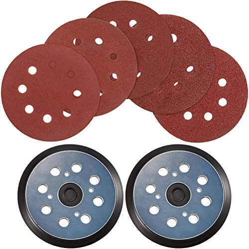2 Pieces Sander Pad Replaces 5 Inch 8 Hole Hook and Loop Orbital Sanding Pad with 30 Pieces Sanding Discs Sandpaper 60 80 120 150 220 Grits Compatible with Ryobi, Milwaukee, Craftsman (Black and Red)